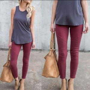 Pants - Moto Burgundy Pants